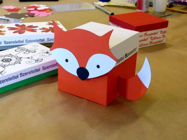Róka mintájú karton doboz
