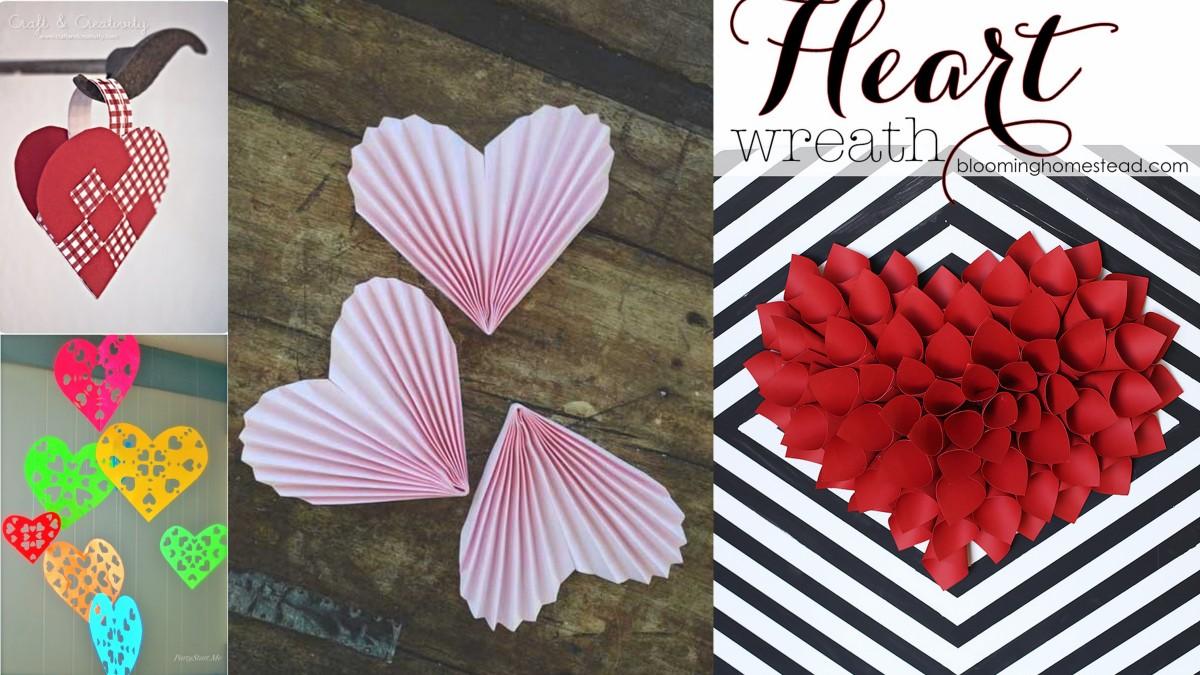 Papír szívek készítése Valentin napra