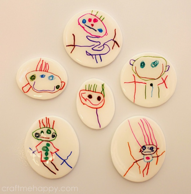 Shrink plastic child's drawings as fridge magnets